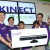 Ben Tan, Regional Director, SEA and Korea, Retail Sales and Marketing, Microsoft; Mr Loo Leong Thye, Chief Executive of Challenger Technologies Ltd and Erik Ford, Senior Marketing Manager for Xbox 360 Singapore present the first Kinect for Xbox 360 in Singapore to Udai and Aryan Khattar