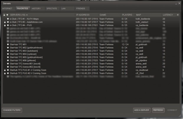 StarHub TF2 servers before the rename, 26 May 2011 12:12pm