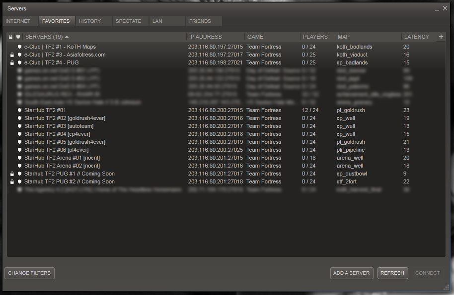 Team fortress server list not updating